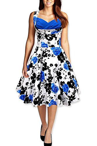 JOTHIN 1950s Damen ärmellose Rockabilly Cocktailkleider Frauen Retro Swing Kleider Maxi Kleid Ballkleid Blau
