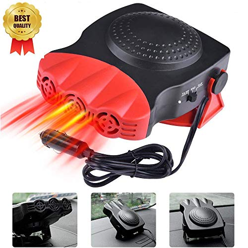 LayOPO - Ventilador de Aire Multifuncional para Coche, 30 Segundos, Calentamiento rápido, descongelación rápida, 12 V, 150 W, Calentador de cerámica portátil (Red)