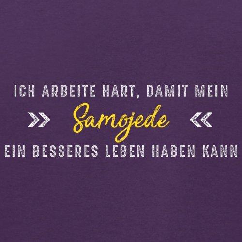 Ich arbeite hart, damit mein Samojede ein besseres Leben haben kann - Herren T-Shirt - 12 Farben Lila