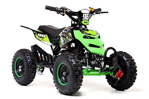 Quad mini con motor de 2 tiempos de 49 cc, ruedas de 6 pulgadas (15 cm), de gasolina, color naranja, de Funbikes, verde