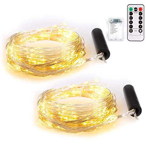 ECOWHO Lichterkette Außen, 8 Modi 200 LED Kupferdraht Lichterkette Batterie mit Fernbedienung & Timer, IP65 Wasserdichte Lichterketten für Zimmer Hochzeit Weihnachten Party (Warmweiß, 2 Stück) -