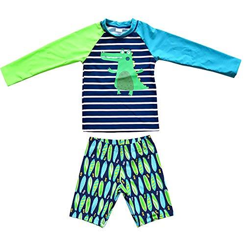 LIUONEXI 2-teiliges Baby- Kleinkinder Badebekleidung mit UV-Schutz 50+ langärmliges Badeanzüge 110 - Kleinkinder-badebekleidung