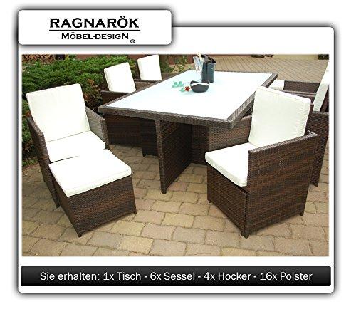 Gartenmöbel PolyRattan Essgruppe Tisch mit 6 Stühlen & 4 Hocker - 4