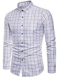 JERFER Camicia Uomo Camicia Elegante A Maniche Lunghe di Oxford. Camicia  Elegante A Maniche Lunghe ef3cd4be805