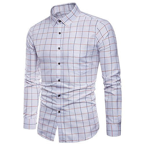 VECDY Herren Pullover,Herren Lässige Langarm Oxford Formell Casual Plaid Slim Fit T-Shirt Hemden Bluse Tops Eleganter Pullover T-Shirt Sweatshirt Hübsches Hemd Hoodis Langarm-Shirt