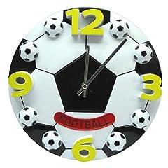 Idea Regalo - VORCOOL Orologio da parete silenzioso moderno Orologio da parete a forma di calcio creativo di calcio per la camera da letto 12 pollici dei bambini del salone