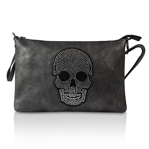 Glamexx24 Damen Handtaschen Clutches Tasche Schultertasche Umhaengetasche mit Stern Muster o Totenkopf Tragetasche TE20170301