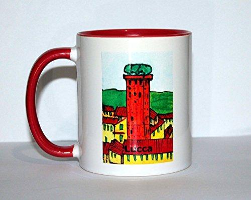 Lucca-Keramiktasse des Guinigi-Turms in Lucca, realisiert mit der Drucktechnik Serigraphie,Basis cm 8 Höhe cm 9,4 - Ursprüngliches Design des Künstlers Davide Pacini, Toskana.