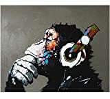 (50cm x 60cm ) - Fokenzary Hand Painted Oil Painting on Canvas Pop Art Cool Ape Listening Music with Headphone Framed Ready to Hang