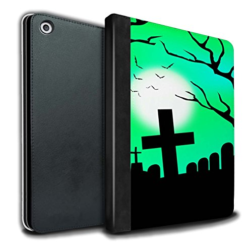 Stuff4® PU-Leder Hülle/Case/Brieftasche für Apple iPad 9.7 (2017) Tablet/Unheimlich Friedhof Muster/Halloween Szene Kollektion