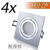 4er Set STAR SILBER Q 230V LED SMD 7W Warmweiss Decken Einbaustrahler Einbauspots Deckenspots (Aluminium-gebürstet) inkl. GU10 Fassung mit 15cm Anschlusskabel