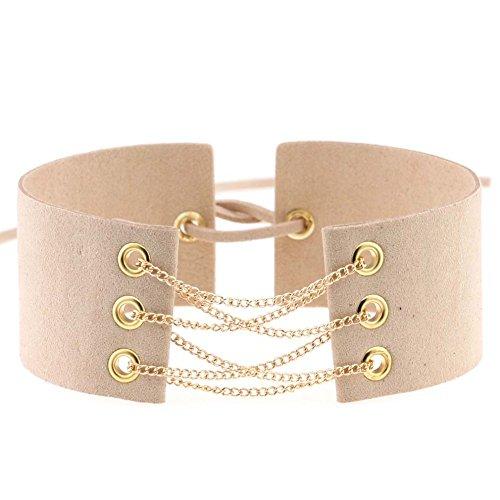 Daxey Neue Glamorous Black Velvet Choker mit Gold & Silber Ketten Sexy Opulente Halskette Gliederkette schn¨¹ren sich oben Halsketten 32 Farben [Elfenbein]
