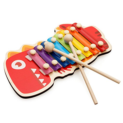AchidistviQ Holz-Handklopfen mit Musik, Tier-Xylophon, 8 Schlüssel, Instrument Perkussion, Kinderspielzeug, Kleiner Dinosaurier
