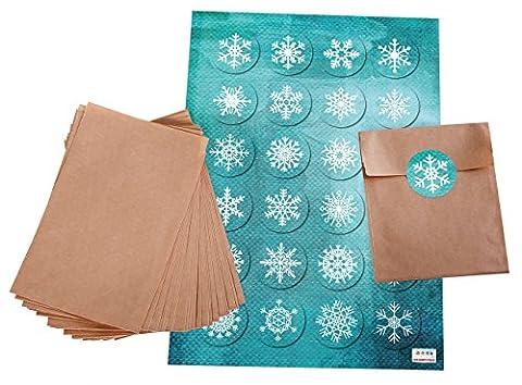 Geschenktüten-Set: 24 braune flache Geschenk-Papier-Tüten-Tütchen-Verpackungs-Weihnachten (10,5 x 15 + 2 cm Lasche) + 24 türkise blaue Schneeflocken Aufkleber (4 cm)