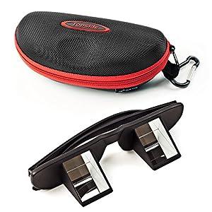 TOPSIDE Gafas asegurar escalada: Total transparencia, Prisma 90°, incluye funda rígida protectora a prueba de golpes, funda de tela, cinta para el cuello y gamuza de limpieza