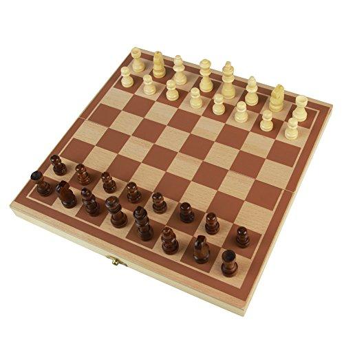 Ajedrez para Niños Damas Backgammon Educativo Juego Adulto de Madera Conjunto Juguetes Plegable Chess para 3 Años+