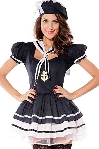 Damen Sexy Marineblau Matrose Henne Do Halloween Kostüm Kleid Outfit - Blau, 8-10 (Halloween Hut Matrose)