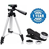 Drumstone Universal 3 In 1 Mobile Camera Lens For Smartphone Photography With Super Light 3110 Portable & Foldable Camera-Mobile Tripod Compatible With Xiaomi, Lenovo, Apple, Samsung, Sony, Oppo, Gionee, Vivo Smartphones (One Year Warranty)