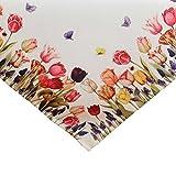 SIDCO Tischdecke Tulpe Tischtuch Tischband Schmetterling Mitteldecke Blumen 85 x 85 cm