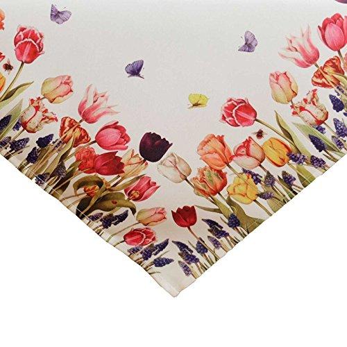 SIDCO Tischdecke Tulpen Mitteldecke Tischdeko Schmetterling Frühling Blumen 85x85cm