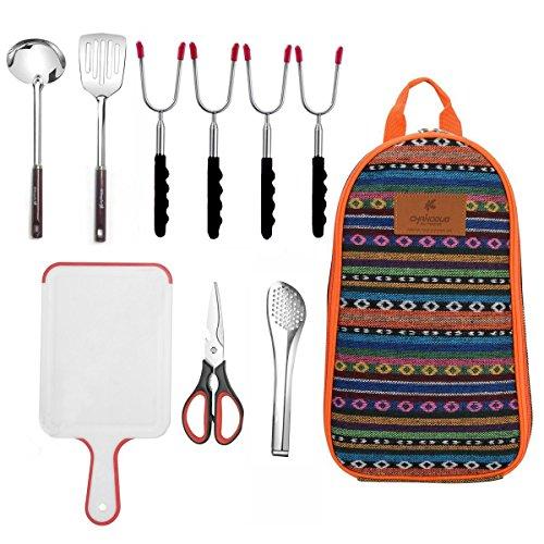 9-Piece Camping Kitchen Utensils Set  CHANODUG Camping Cookware Utensils For Travel Kitchen,Camping Kitchen Set with Hot dog marshmellow forks