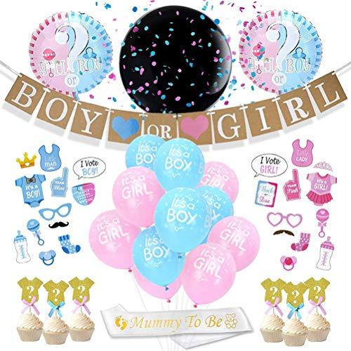 JOYMEMO Gender Reveal Partyzubehör und Dekorationen Kit Rosa und Blau mit Baby Ballons, Cupcake-Toppers, Jungen oder Mädchen-Banner, Foto-Requisiten, Mutter zum Aufhängen