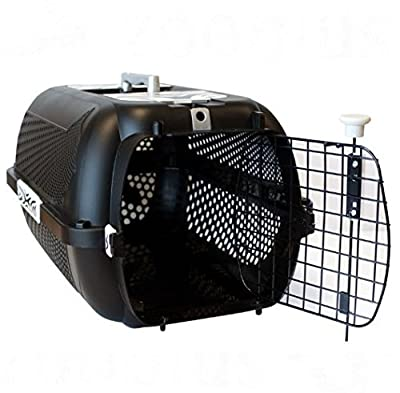 Large Black Cat Carrier - A Large, Secure Cat Carrier In Black With A Bold Tiger Pattern - Great Ventilation - Suitable For Large Breeds by Catit