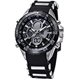 WEIDE Analog-digital Colorful LED Display Men Watch with LCD Screen