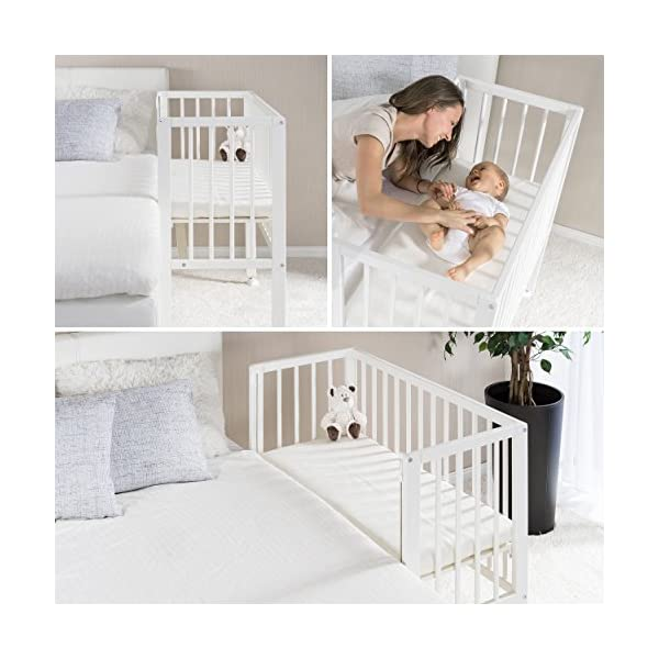 Fillikid Convertible Bedside Crib Vario 2in1 - Height Adjustable Bedside Cot with Wheels | 90 x 40 cm | Solid Beech Wood | Drop Side Rail | Fits Boxspring Beds - White  BEDSIDE CRIB DURING THE NIGHT: The bedside cot enables an easy access, hassle-free night time feeding and allows you to reach your baby without having to get up in the middle of the night. BASSINET DURING THE DAY: Simply pull up the side rail and use the cot as a stand-alone bed or bassinet. Four lockable wheels make it easy for you to move from one room to another having your newborn always on your side. FITS STANDARD AND BOXSPRING BEDS: The bed base can be placed on 4 different heights. It fits on every parent's mattress with a minimum height of 52 cm and a maximum height of 70 cm. The Vario Bedside Crib can easily be attached to your bed with the included support strap. 7