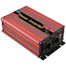 EnRise Inversor de Corriente 1000W Pico 2000W Convertidor de Voltaje de 12V a 220V 230V Onda Sinusoidal Pura con Puerto USB