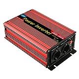 EnRise 1000W Spitzenwert 2000W Reiner Sinus Spannungswandler Wechselrichter DC 12V auf AC 230V mit USB Anschlüsse