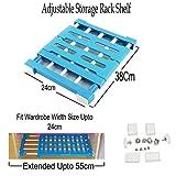 Adjustable Storage Rack Shelf - Layered Organizer Divider Holder for Kitchen Bathroom Drawer Cupboard Refrigerator Wardrobe Bookcase By KARP (38X55Cm)