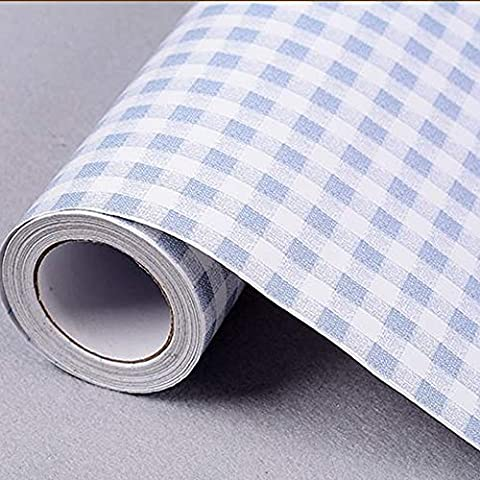 LoveFaye Blue & White Checkered Pattern Contact Paper Self-Adhesive Shelf