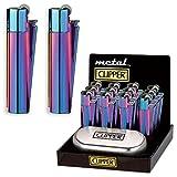 Clipper Feuerzeug - New Mix Farbe Blau Grün Purple - Metal Flint - in Metall-Geschenkbox