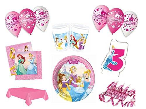 XXL Party Deko Set 3.Geburtstag Disney Princess pink Kindergeburtstag für 8 Personen rosa Mädchen Party Deko Geschirr