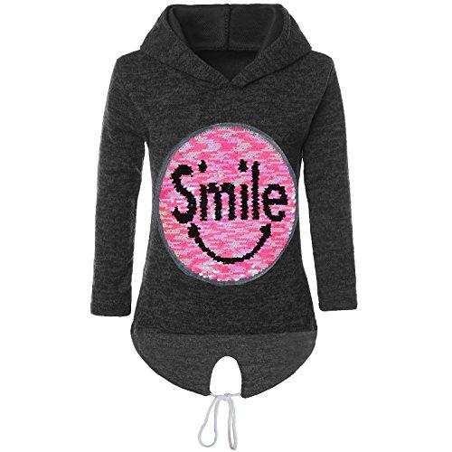 BEZLIT Mädchen Kapuzen Pullover Pulli Wende Pailletten Sweatshirt Hoodie 21544, Farbe:Schwarz, Größe:164