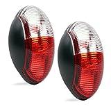 Umrissleuchte LED 12v Begrenzungsleuchte 2er Set rot/weiß 60x34 mm, 12 - 30 Volt für Wohnmobil, Wohnwagen und Anhänge