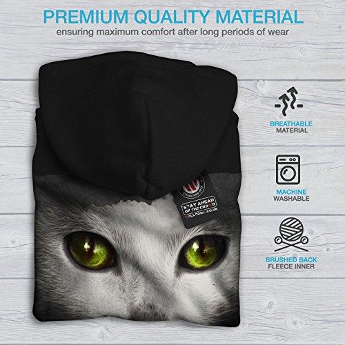 Psychédélique Animal Chat Femme S-2XL Sweat à capuche le dos | Wellcoda Noir