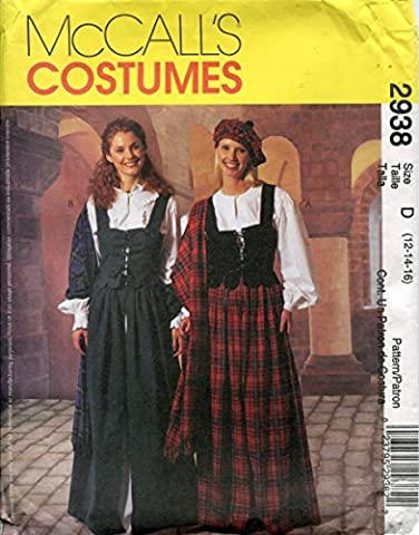 McCall's Costumes Pattern 2938 Misses' Blouse, Skirt, Laced Weskit, Hat and Shawl, D (12-14-16) by McCall's