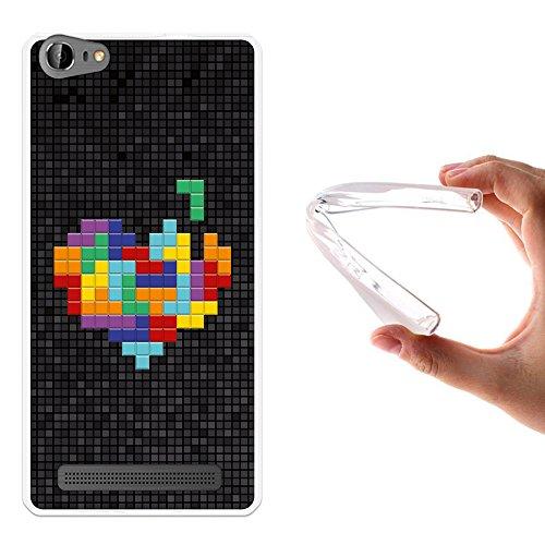WoowCase Doogee Y200 Hülle, Handyhülle Silikon für [ Doogee Y200 ] Pixel- Multifarbiges Herz Handytasche Handy Cover Case Schutzhülle Flexible TPU - Transparent