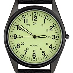Orkina Black Case Light Green Dial Nylon Canvas Strap Fashion Wrist Watch P104IPBLG