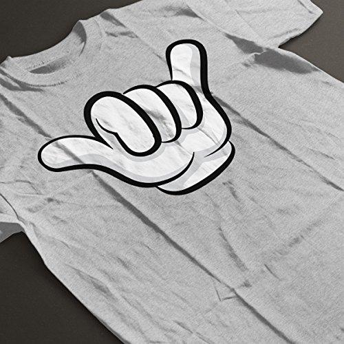 Disney Mickey Mouse Hands Hang Loose Sign Men's T-Shirt Heather Grey