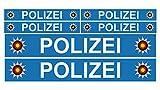 Finest Folia 6 x Polizei Auto Boot Caravan Bus Bike Fahrrad Aufkleber Plakette RC Car Modellbau (Blau)