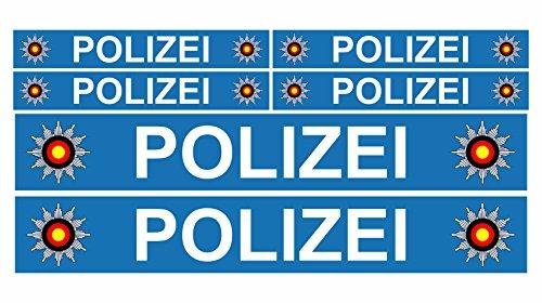 Finest Folia 6 x Polizei Auto Boot Caravan Bus Bike Fahrrad Aufkleber Plakette RC Car Modellbau (Blau) - Fahrrad-polizei