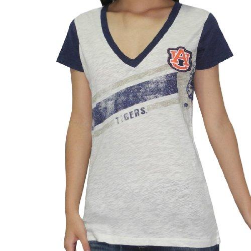 NCAA Auburn Tigers Damen V-Neck T-Shirt (Vintage Look) Beige