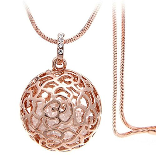 te, Edelsathl Damenkette Hohl Kugel Form Anhänger Statementkette Kettenanhänger Rose Gold 80CM mit Zirkonia ()