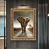 HYH S945 Eingang Farbe Dekorative Malerei Elefant Vertikal-Wandgemälde Wohnzimmer amerikanische Ölgemälde Moderne Stadthaus Feng Shui 30x40cm, 40x50cm, 50x60cm gutes Leben (Size : 50x60cm)