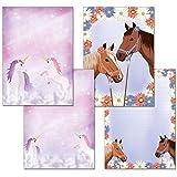 2pezzi–Unicorno magica blocchi di scrittura 1X + 1X due cavalli ciascuno 25fogli formato DIN A4con copertina 7300+ 7390