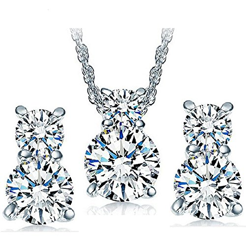 Kaizer Jewelry Platinum Plated Solitaire Pendant Set with Earring for Women & Girls (Valentine Gift Collection)
