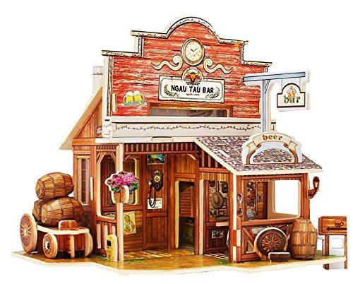 [American West Bar] 3D Puzzle Papier Modell Zusammengebaute Kabine Haus Spielzeug Diy